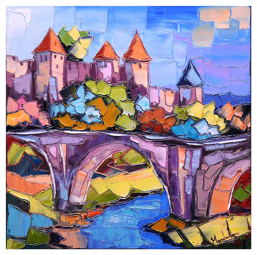 carcassonne art tableau peinture huile oil painting pfleger mandrafina ebay. Black Bedroom Furniture Sets. Home Design Ideas